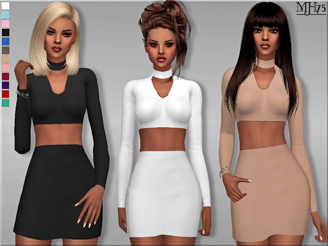 Sims 4 Choker Bodycon Outfit by Margeh75 at Sims Addictions