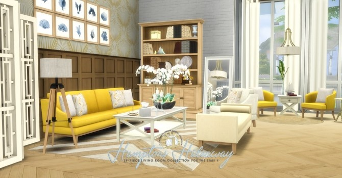 Hamptons hideaway living room by peacemaker ic at for Sims 4 living room ideas