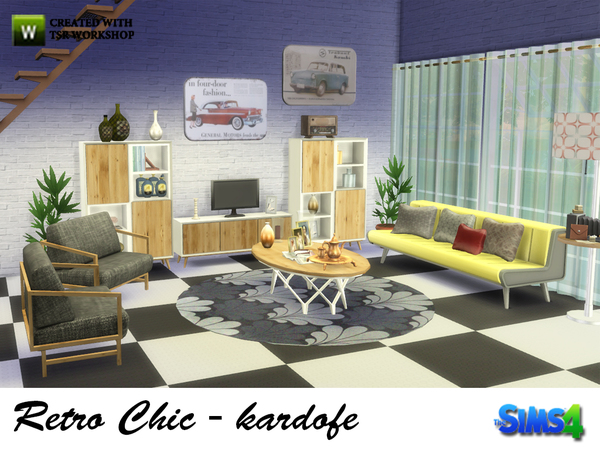 Retro Chic living by kardofe at TSR image 1559 Sims 4 Updates