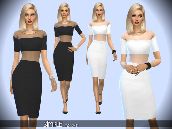 Sims 4 Simple dress by Paogae at TSR