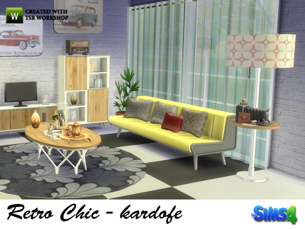 Retro Chic living by kardofe at TSR image 1638 Sims 4 Updates