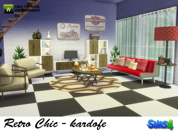 Retro Chic living by kardofe at TSR image 1739 Sims 4 Updates