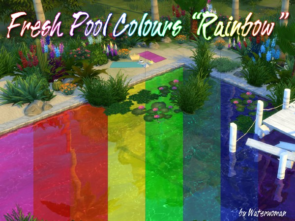 Rainbow fresh pool colours by waterwoman at akisima sims for Pool design sims 4