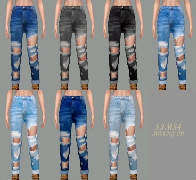 Sims 4 Female Roll Up Destroyed Jeans at Marigold