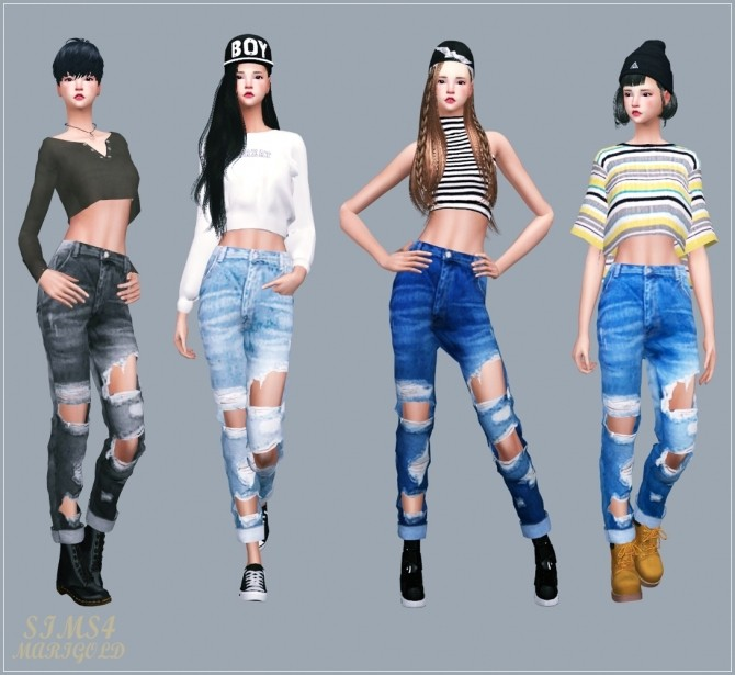 Female Roll Up Destroyed Jeans at Marigold image 1803 670x615 Sims 4 Updates