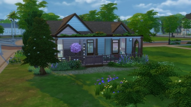 Sims 4 Wooden outside modern inside house by Chax at Mod The Sims
