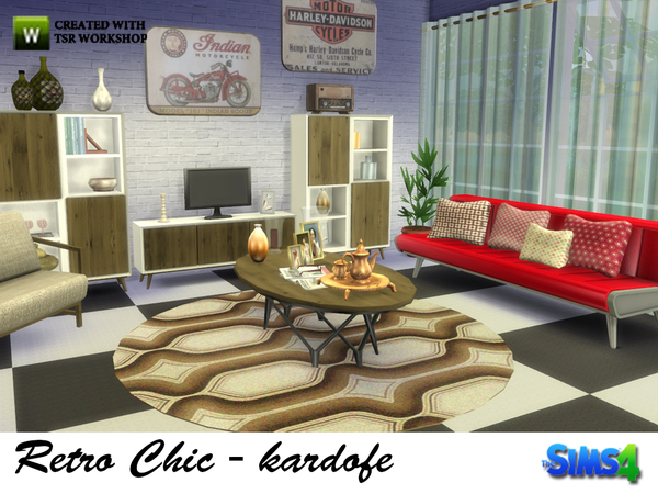 Retro Chic living by kardofe at TSR image 1840 Sims 4 Updates