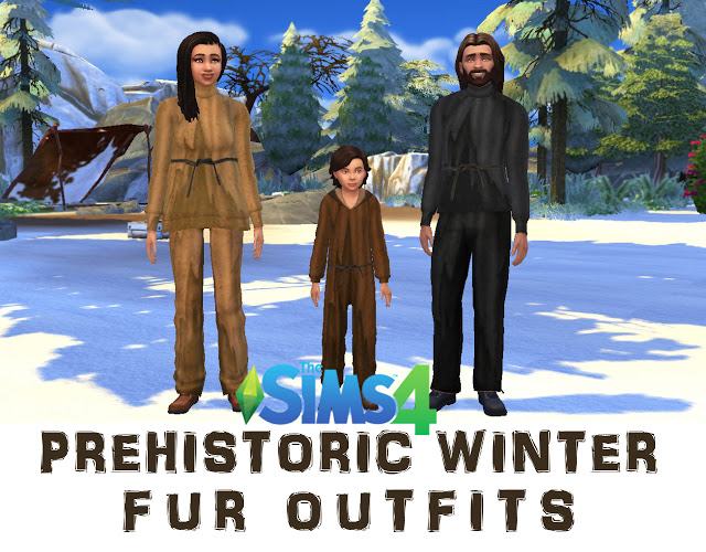 Sims 4 Prehistoric Winter Fur Outfits by Anni K at Historical Sims Life