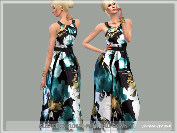 Sims 4 Sleeveless Floral Print Ball Gown by Serpentrogue at TSR