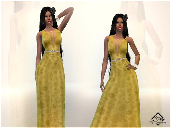 Sims 4 Spring Long Dress by Devirose at TSR