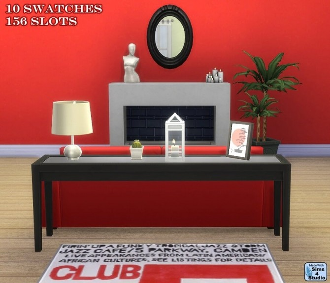 Sims 4 3 tile glass top console table at Sims 4 Studio