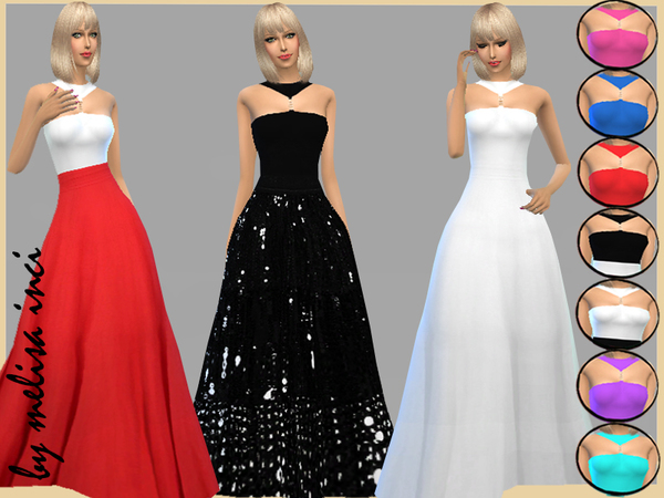 Sims 4 Polo Neck Trim Top Maxi Dress by melisa inci at TSR