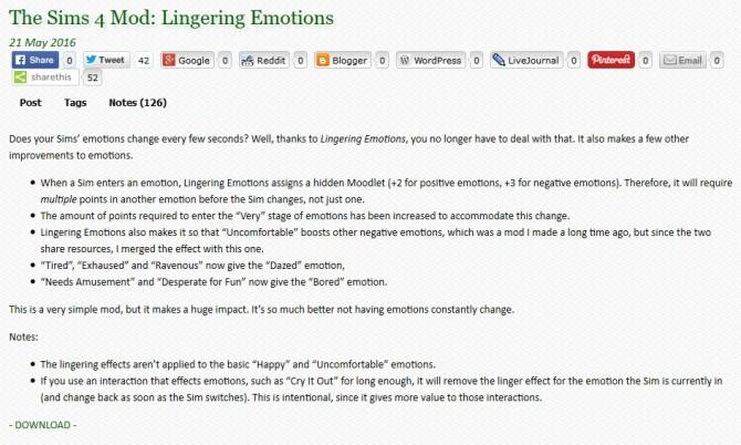 Sims 4 Lingering Emotions Mod at Zerbu