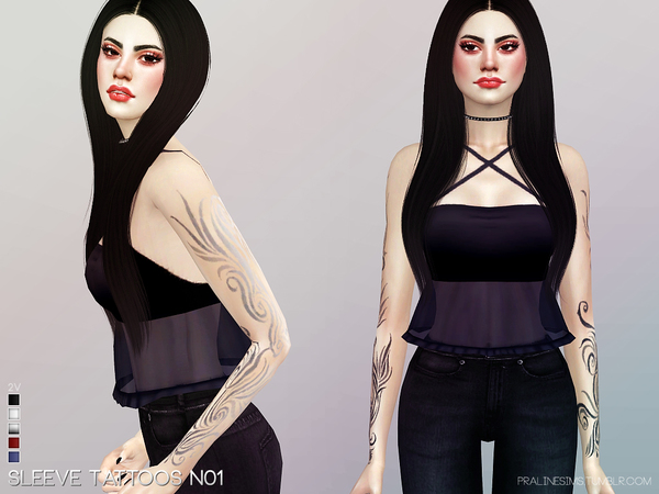 Sims 4 Sleeve Tattoos N01 by Pralinesims at TSR