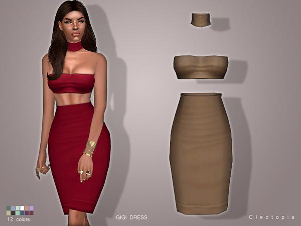 Sims 4 GIGI Bodycon dress by Cleotopia at TSR