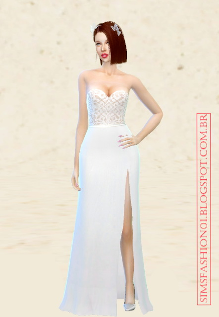 Sims 4 Wedding dress with silver belt at Sims Fashion01