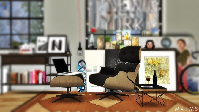 Sims 4 Eames Lounge Chair and Wire Base Table at MXIMS
