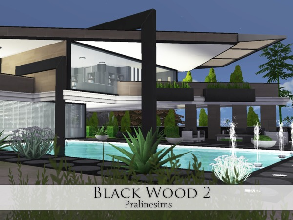Sims 4 Black Wood 2 house by Pralinesims at TSR