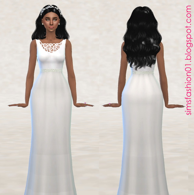 White Wedding Dress with Leather Belt at Sims Fashion01 image 2686 Sims 4 Updates