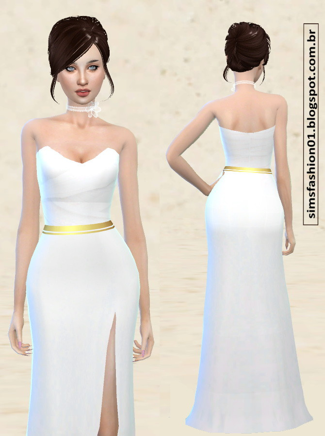 Sims 4 Satin Wedding Dress With Gold Belt at Sims Fashion01