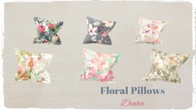 Sims 4 Floral & Geometric Pillows at Dinha Gamer