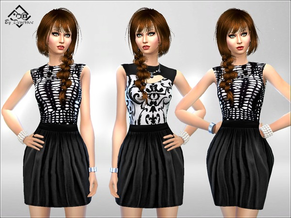 Black and White Dress by Devirose at TSR image 3228 Sims 4 Updates