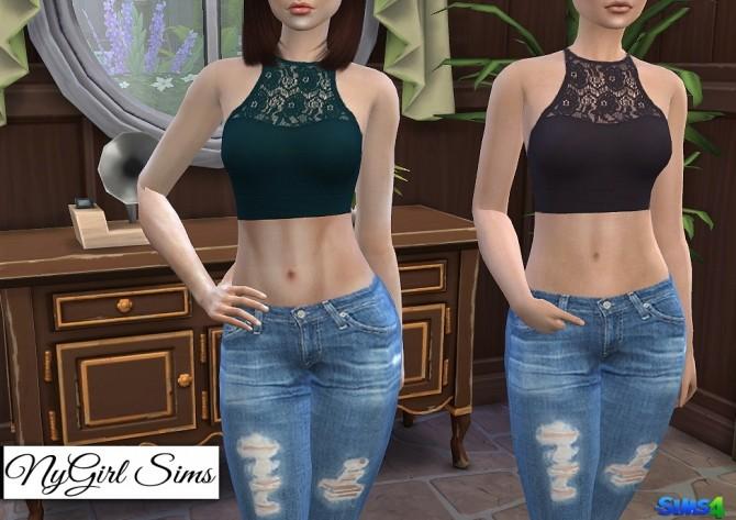 Sims 4 Athletic Lace Crop Tank at NyGirl Sims