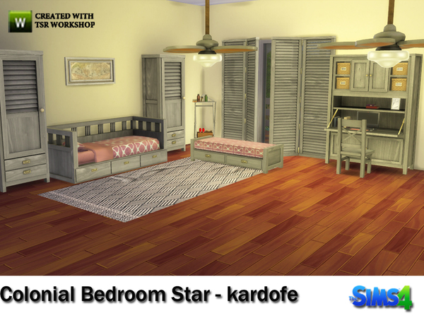 Sims 4 Colonial Bedroom Star by kardofe at TSR