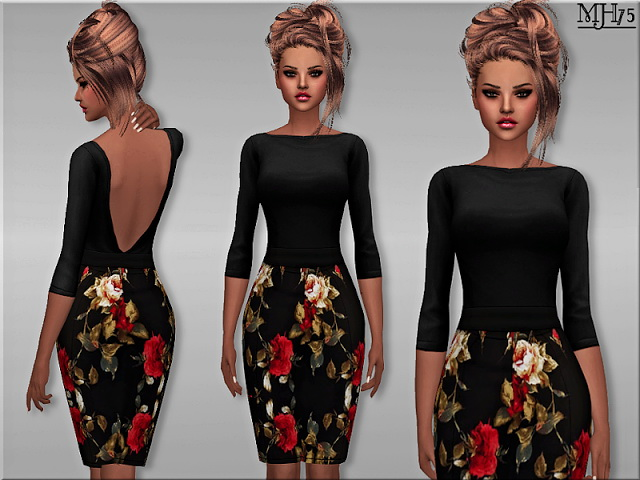 Floral Formal Dress By Margeh75 At Sims Addictions 187 Sims