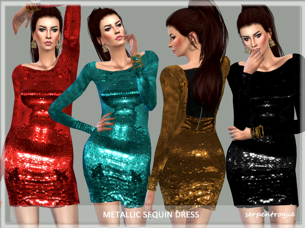 Metallic Sequin Dress by Serpentrogue at TSR image 4119 Sims 4 Updates