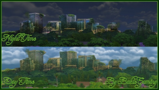 Sims 4 Overgrown City Skyline Replacement by Bakie at Mod The Sims