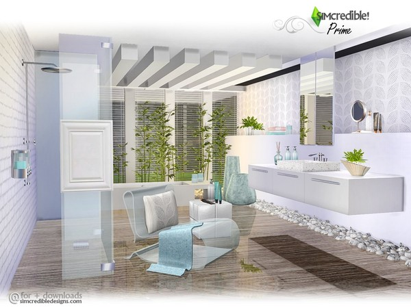 Sims 4 Prime modern bathroom by SIMcredible at TSR