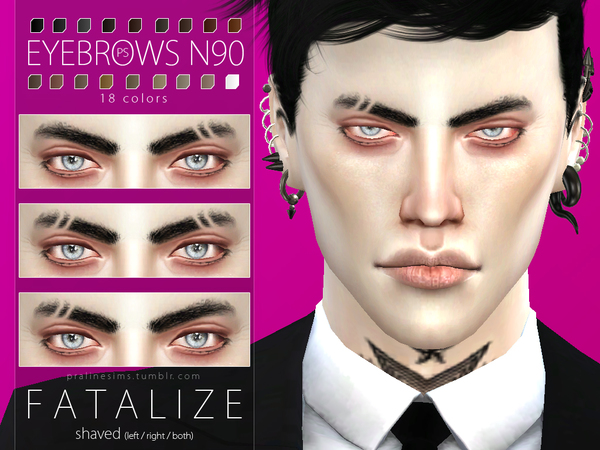 Sims 4 Fatalize Eyebrow Duo by Pralinesims at TSR
