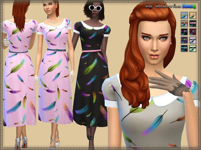 Sims 4 Feather Dress at Bukovka