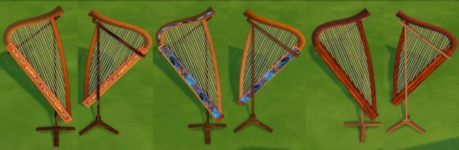 Sims 4 Handheld Playable Harp (Guitar Clone) by Esmeralda at Mod The Sims