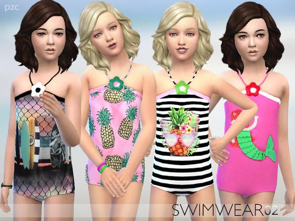 Sims 4 PZC Girls Swimwear 02 by Pinkzombiecupcakes at TSR
