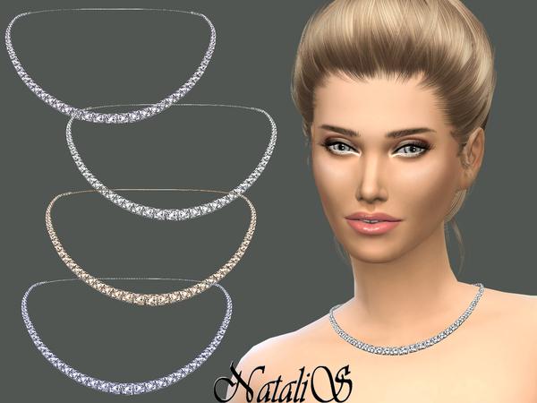Sims 4 Bridal crystal necklace by NataliS at TSR