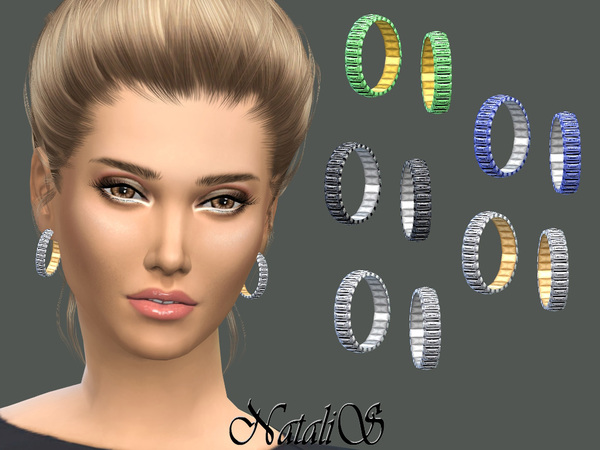 Sims 4 Baguette Hoop Earrings by NataliS at TSR