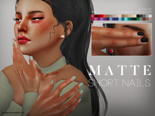 Matte Short Nails N09 by Pralinesims at TSR image 57 Sims 4 Updates