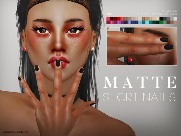 Matte Short Nails N09 by Pralinesims at TSR image 58 Sims 4 Updates