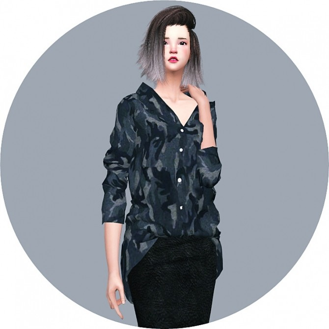 Loose Fit Shirt Open Neck at Marigold image 584 670x670 Sims 4 Updates