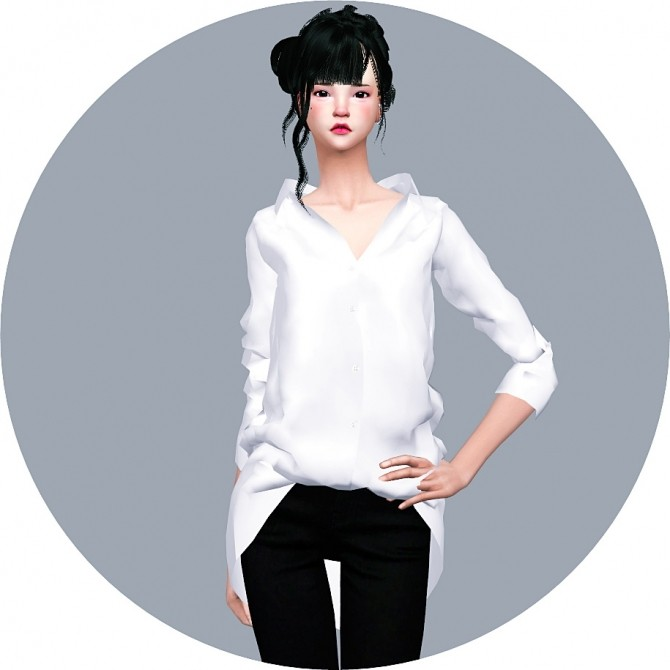 Loose Fit Shirt Open Neck at Marigold image 604 670x670 Sims 4 Updates