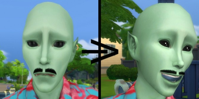 Sims 4 TS2 Alien Eye + Blue Gums Matte by Qahne at Mod The Sims