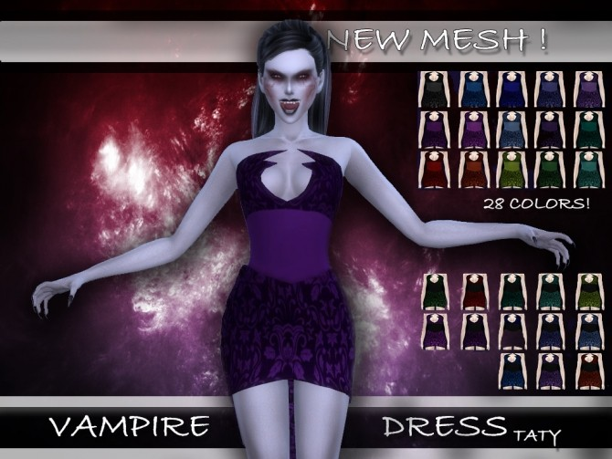 Sims 4 Vampire Dress by Taty at SimsWorkshop