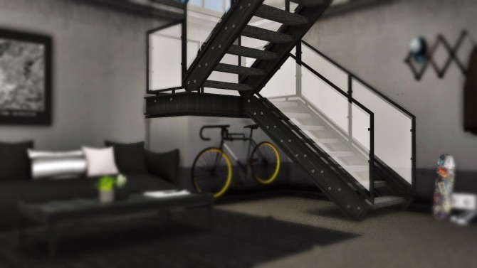 Sims 4 Industrial U Stairs Deco at MXIMS