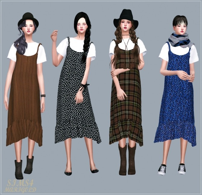 Sims 4 Layered Long Dress With T Shirt at Marigold