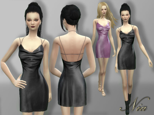 Sims 4 Silk Satin Mini Dress by Nia at TSR