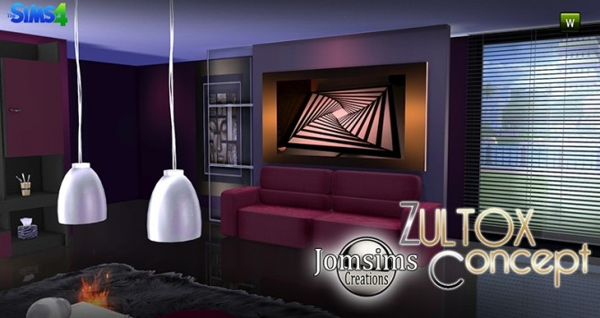 Zultox living concept at jomsims creations sims 4 updates for Salon moderne sims 4