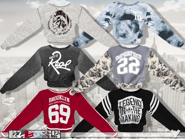 Sims 4 Athletic Department Sweatshirt Collection by Pinkzombiecupcakes at TSR