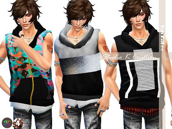 Sims 4 Giruto 6 Kenjis non sleeve hoodie for male at Studio K Creation